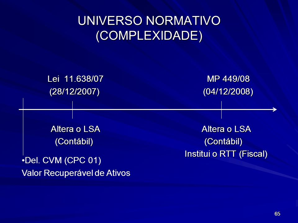 UNIVERSO NORMATIVO (COMPLEXIDADE)