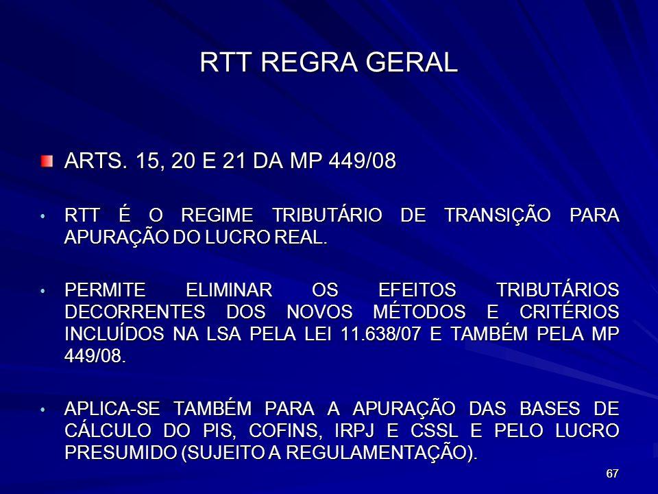 RTT REGRA GERAL ARTS. 15, 20 E 21 DA MP 449/08
