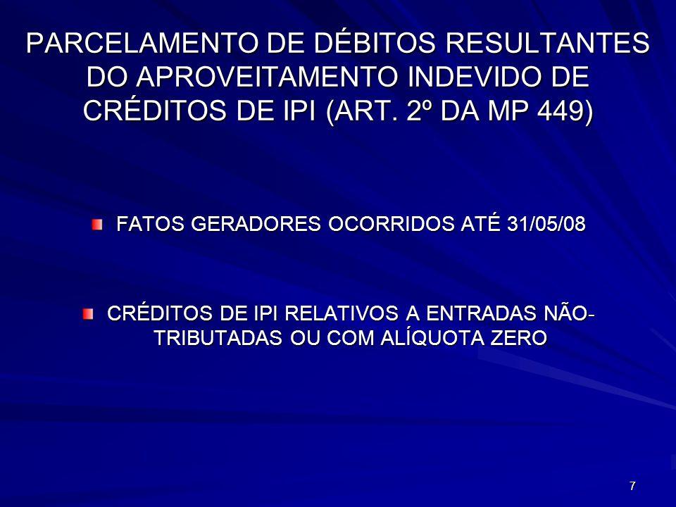 FATOS GERADORES OCORRIDOS ATÉ 31/05/08