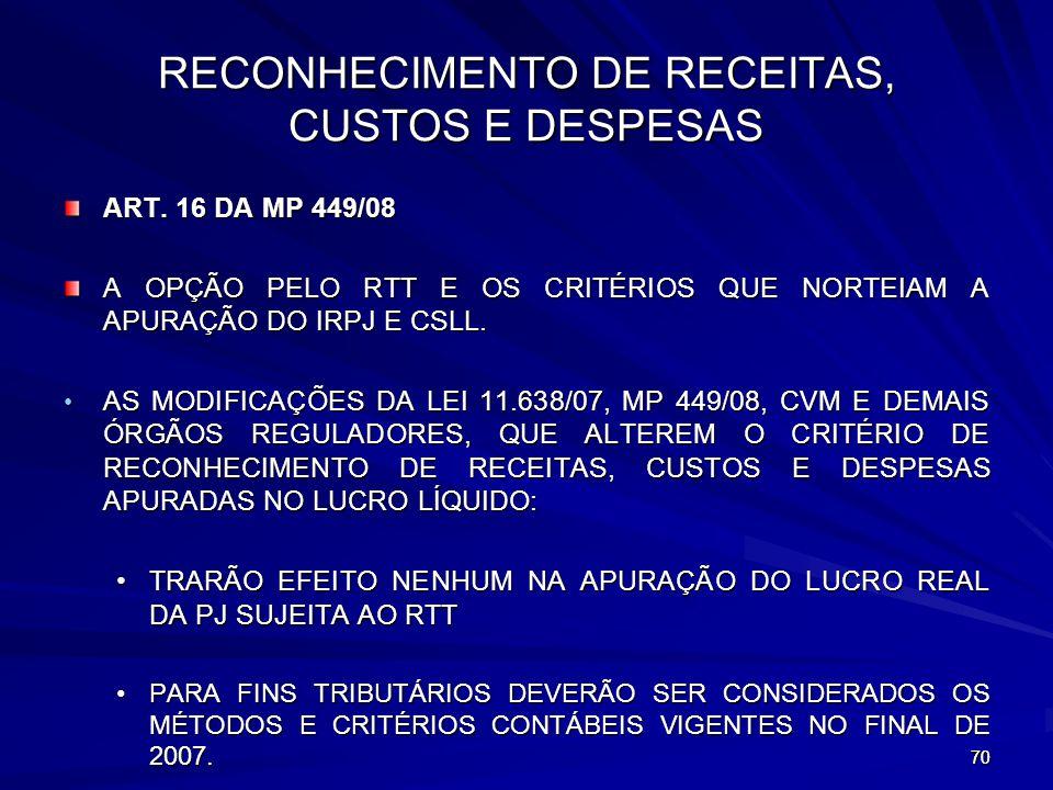 RECONHECIMENTO DE RECEITAS, CUSTOS E DESPESAS
