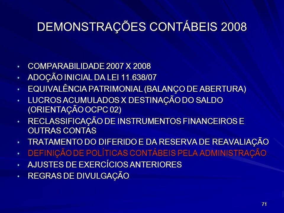 DEMONSTRAÇÕES CONTÁBEIS 2008