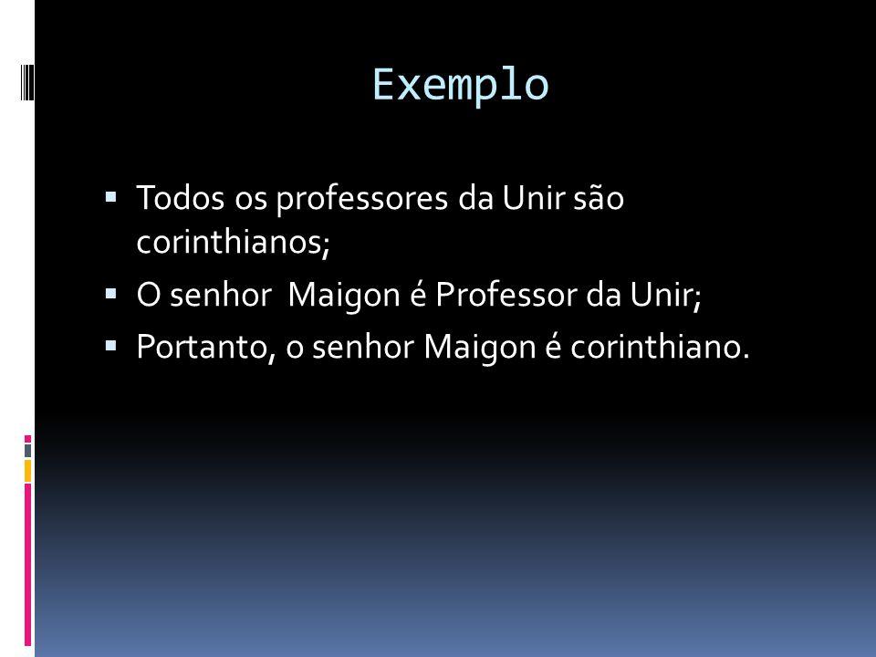 Exemplo Todos os professores da Unir são corinthianos;
