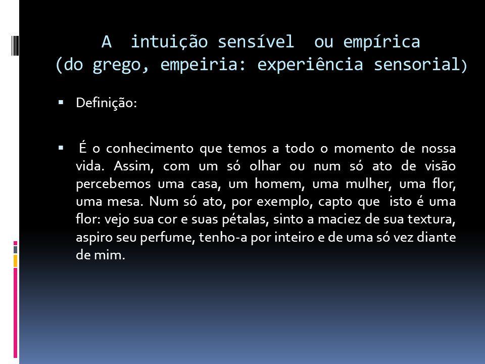 A intuição sensível ou empírica (do grego, empeiria: experiência sensorial)