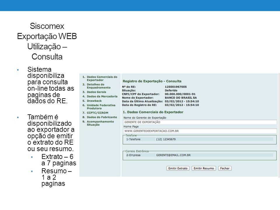Siscomex Exportação WEB Utilização – Consulta