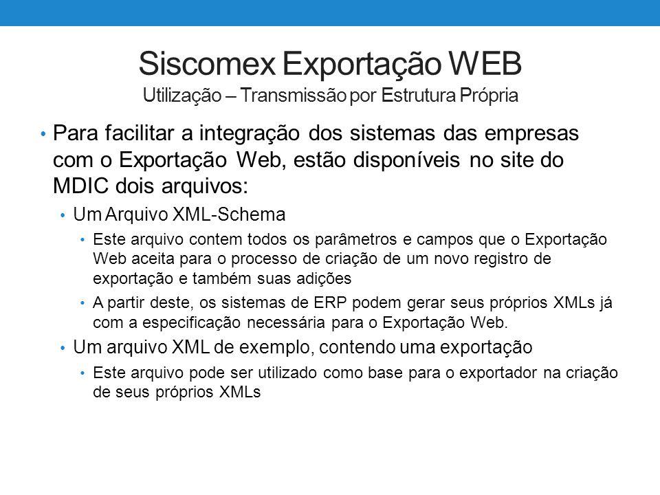 Siscomex Exportação WEB Utilização – Transmissão por Estrutura Própria