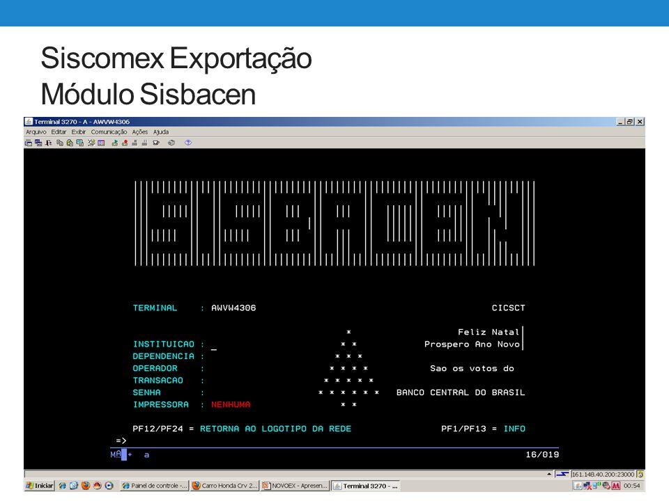 Siscomex Exportação Módulo Sisbacen