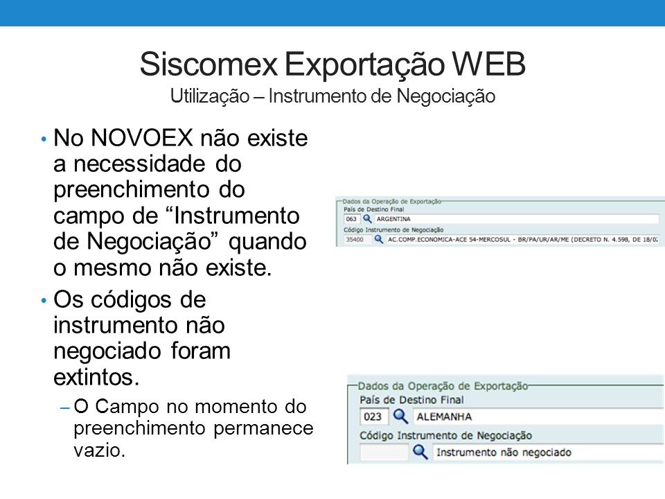 Siscomex Exportação WEB Utilização – Instrumento de Negociação