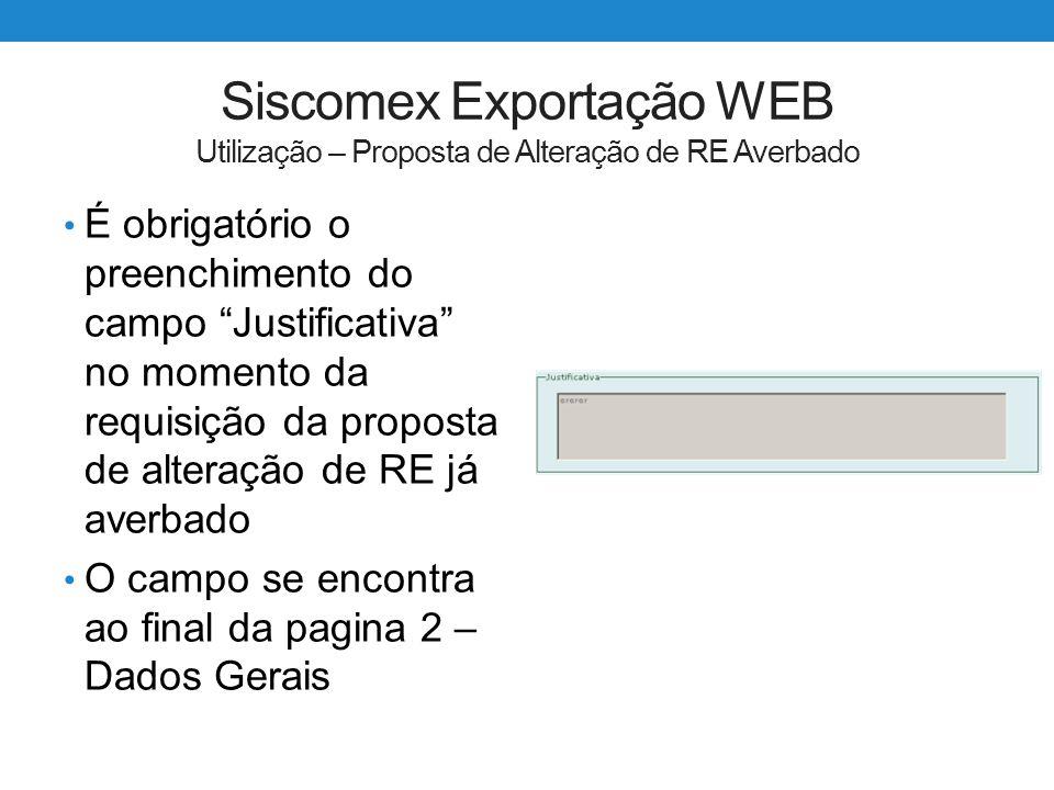 Siscomex Exportação WEB Utilização – Proposta de Alteração de RE Averbado