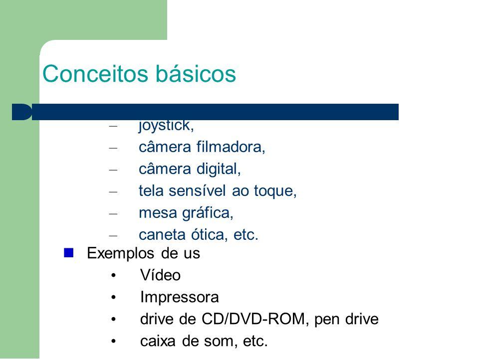 Conceitos básicos 1717 joystick, câmera filmadora, câmera digital,