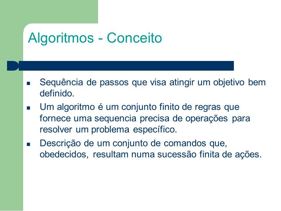 2 Algoritmos - Conceito. Sequência de passos que visa atingir um objetivo bem definido.