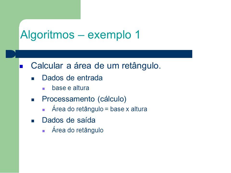 Algoritmos – exemplo 1 Calcular a área de um retângulo. 2525