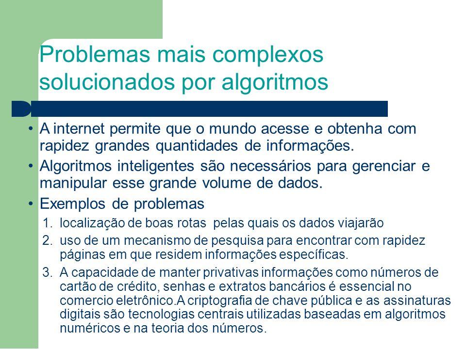 Problemas mais complexos solucionados por algoritmos