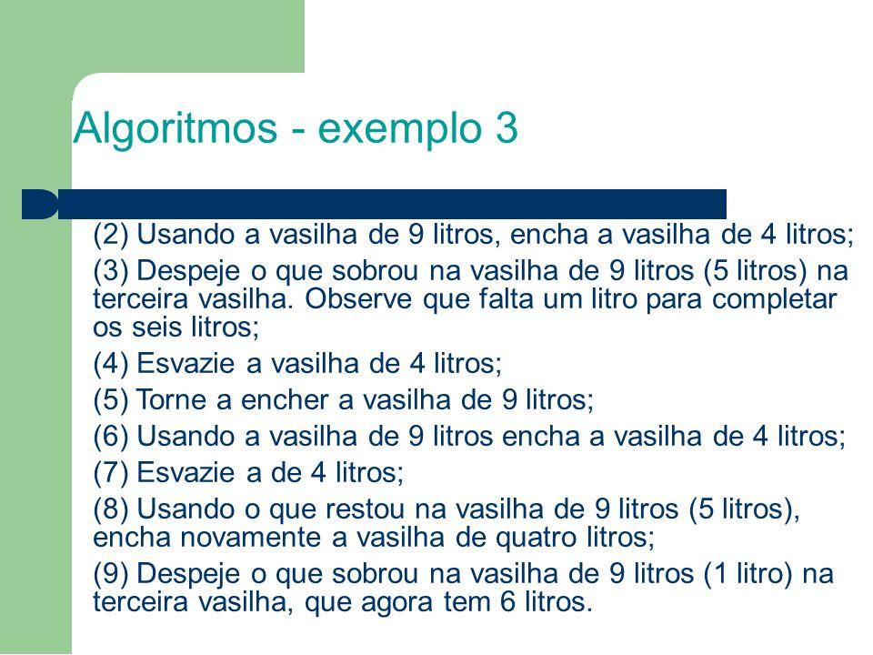 8 Algoritmos - exemplo 3. (2) Usando a vasilha de 9 litros, encha a vasilha de 4 litros;