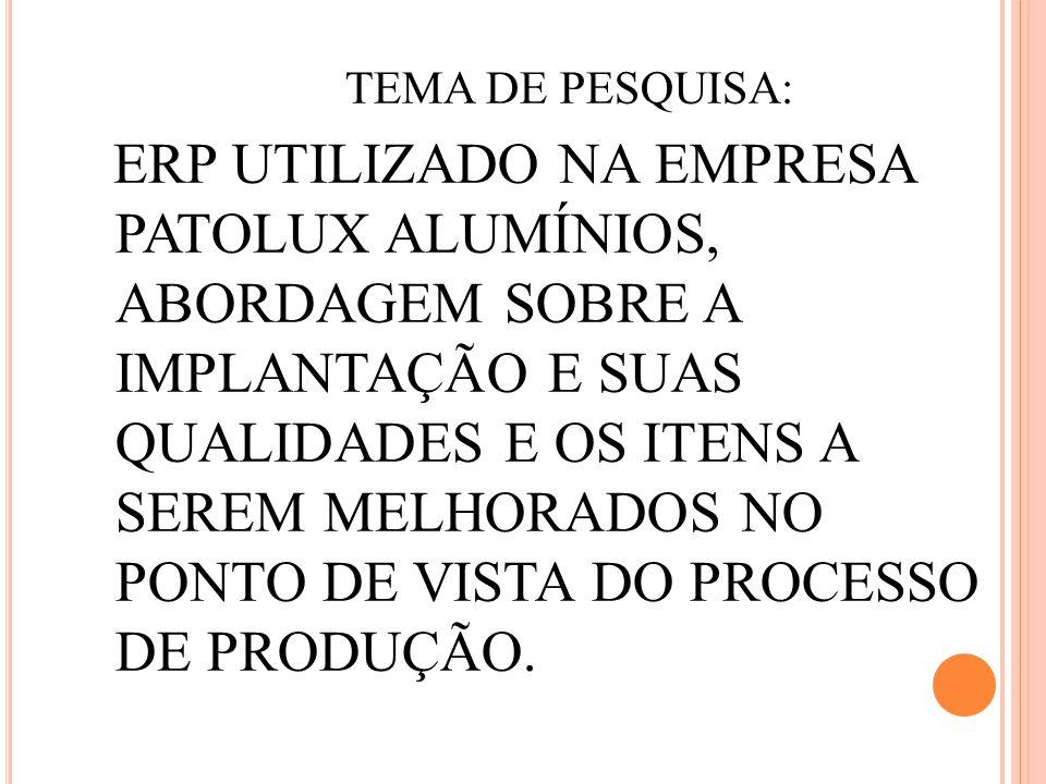 TEMA DE PESQUISA: