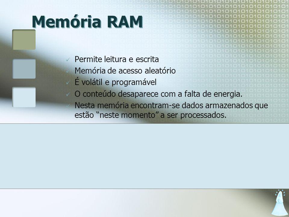 Memória RAM Permite leitura e escrita Memória de acesso aleatório