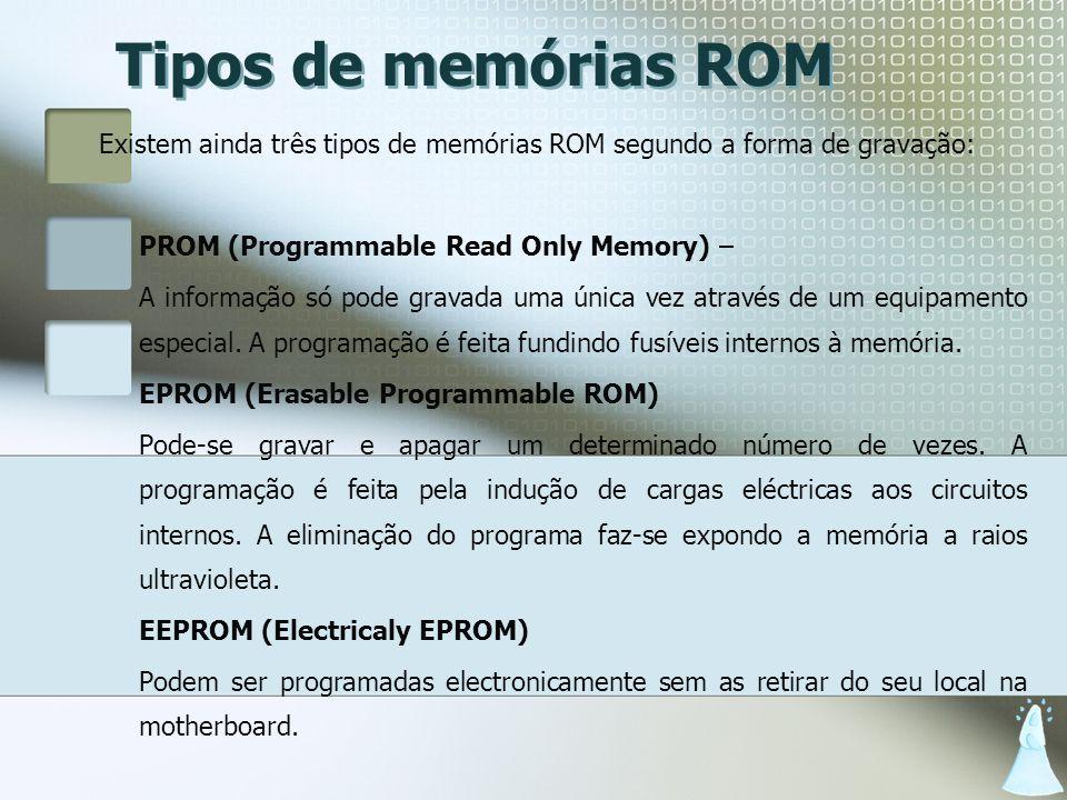 Tipos de memórias ROM Existem ainda três tipos de memórias ROM segundo a forma de gravação: PROM (Programmable Read Only Memory) –