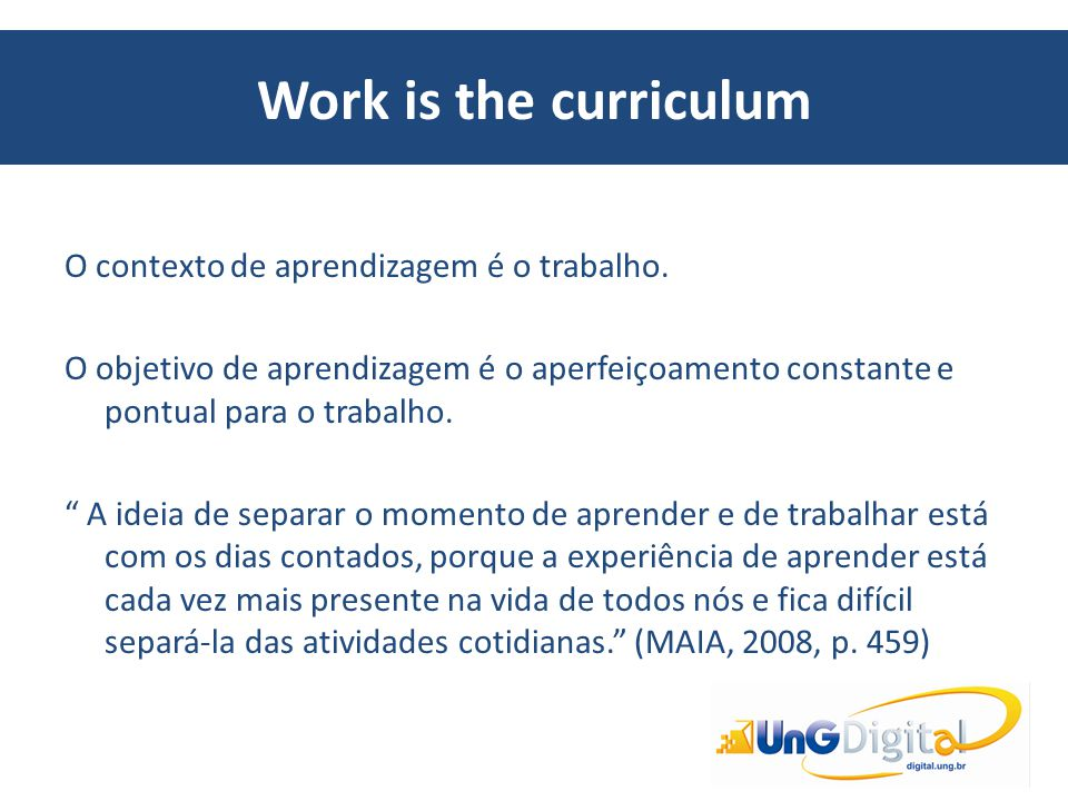 Work is the curriculum