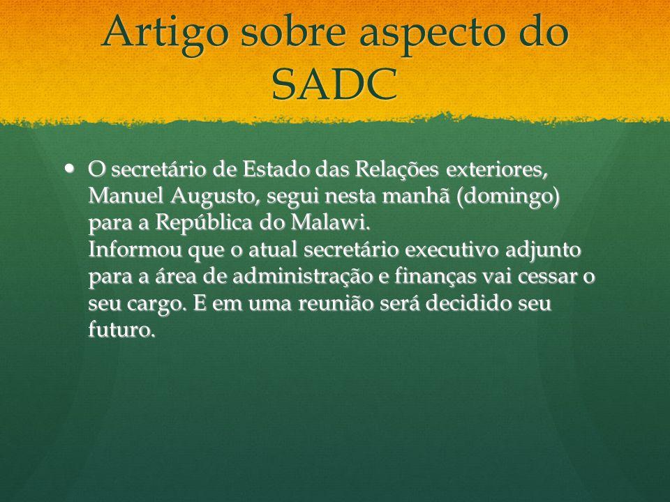 Artigo sobre aspecto do SADC