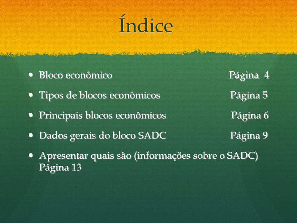Índice Bloco econômico Página 4 Tipos de blocos econômicos Página 5