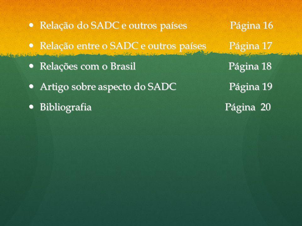 Relação do SADC e outros países Página 16