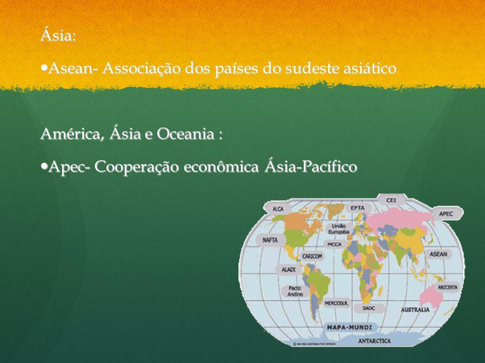 Ásia: Asean- Associação dos países do sudeste asiático.