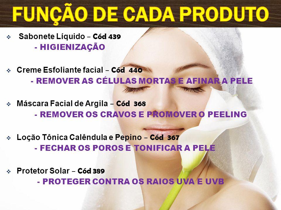 Função de cada produto Sabonete Líquido – Cód 439 - HIGIENIZAÇÃO