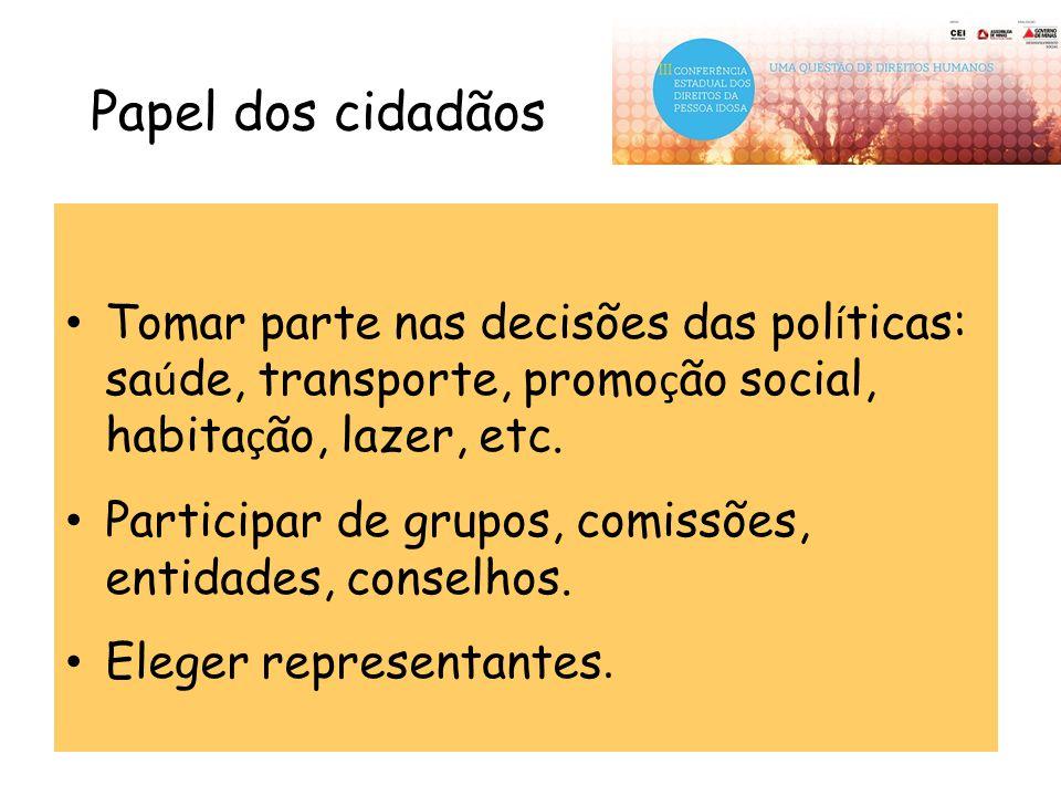 Papel dos cidadãos Tomar parte nas decisões das políticas: saúde, transporte, promoção social, habitação, lazer, etc.