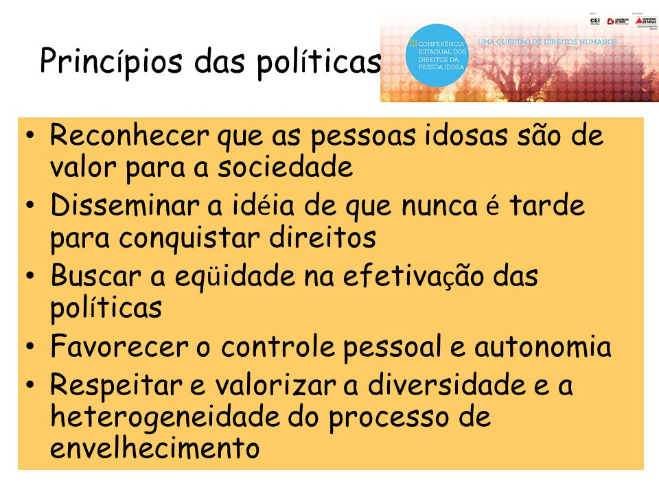 Princípios das políticas
