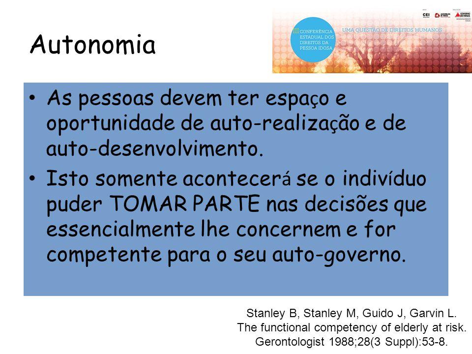 Autonomia As pessoas devem ter espaço e oportunidade de auto-realização e de auto-desenvolvimento.