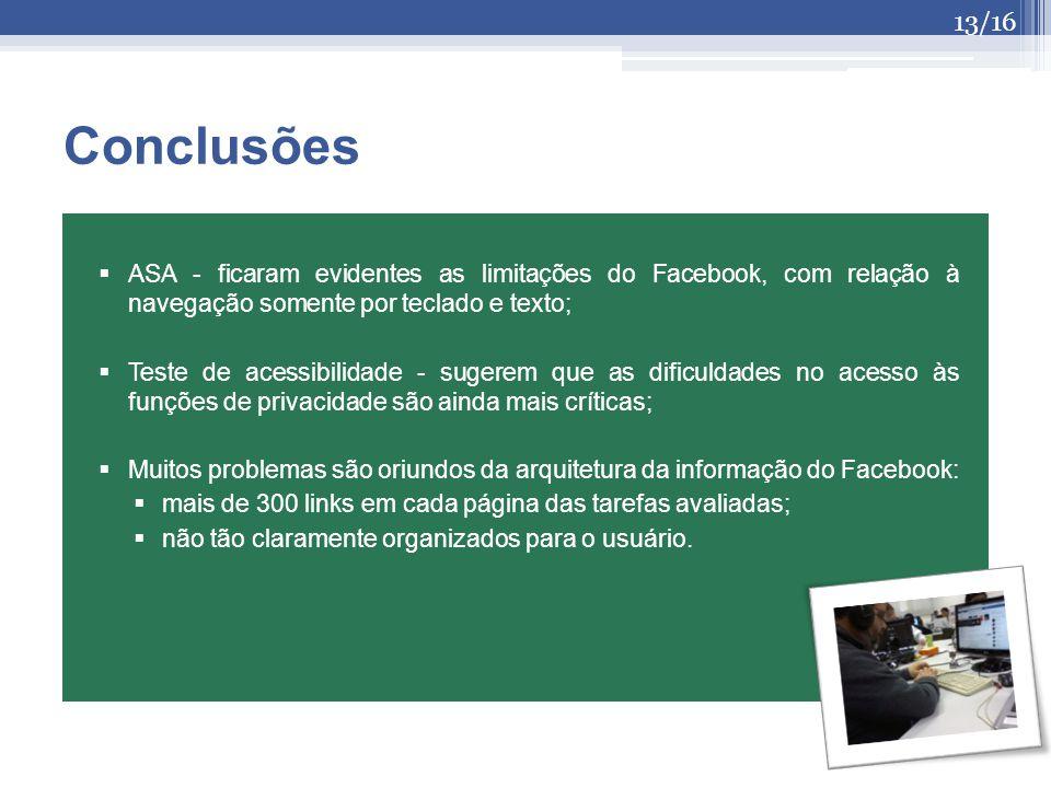 Conclusões ASA - ficaram evidentes as limitações do Facebook, com relação à navegação somente por teclado e texto;