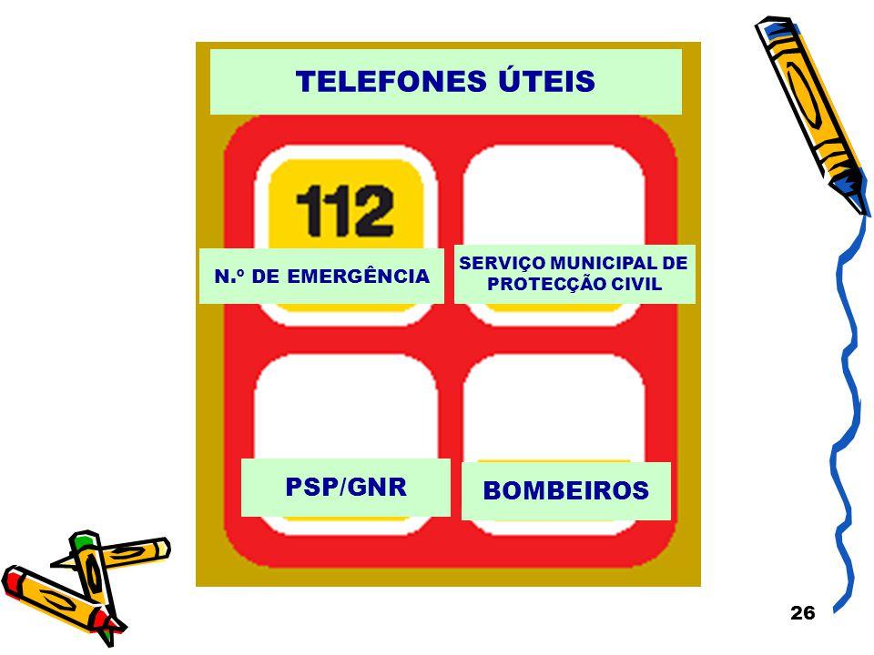 TELEFONES ÚTEIS PSP/GNR BOMBEIROS N.º DE EMERGÊNCIA