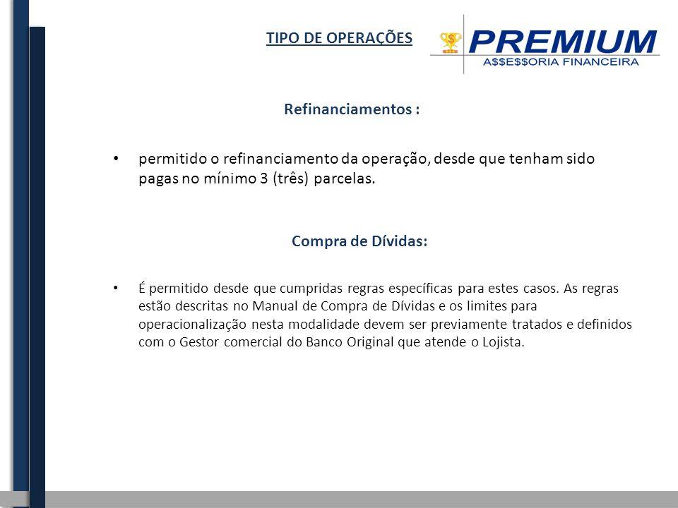 TIPO DE OPERAÇÕES Refinanciamentos :