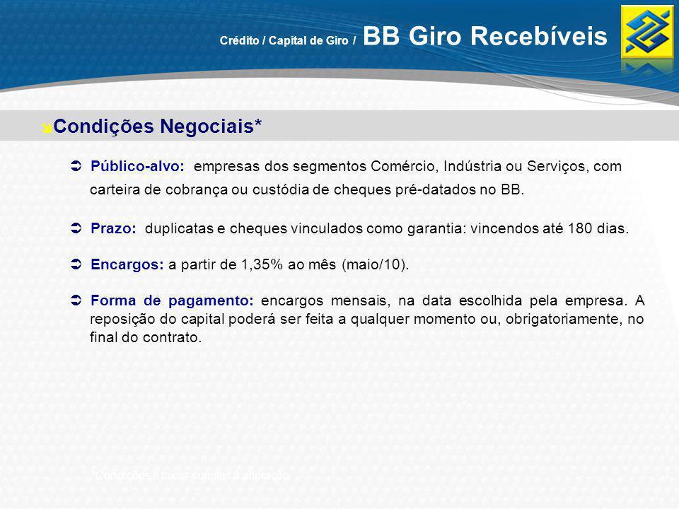 Crédito / Capital de Giro / BB Giro Recebíveis