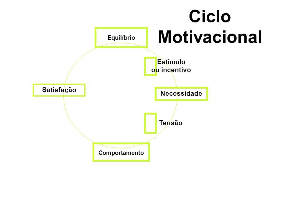 Ciclo Motivacional Estímulo ou incentivo Satisfação Necessidade Tensão