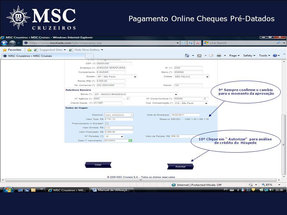 Pagamento Online Cheques Pré-Datados