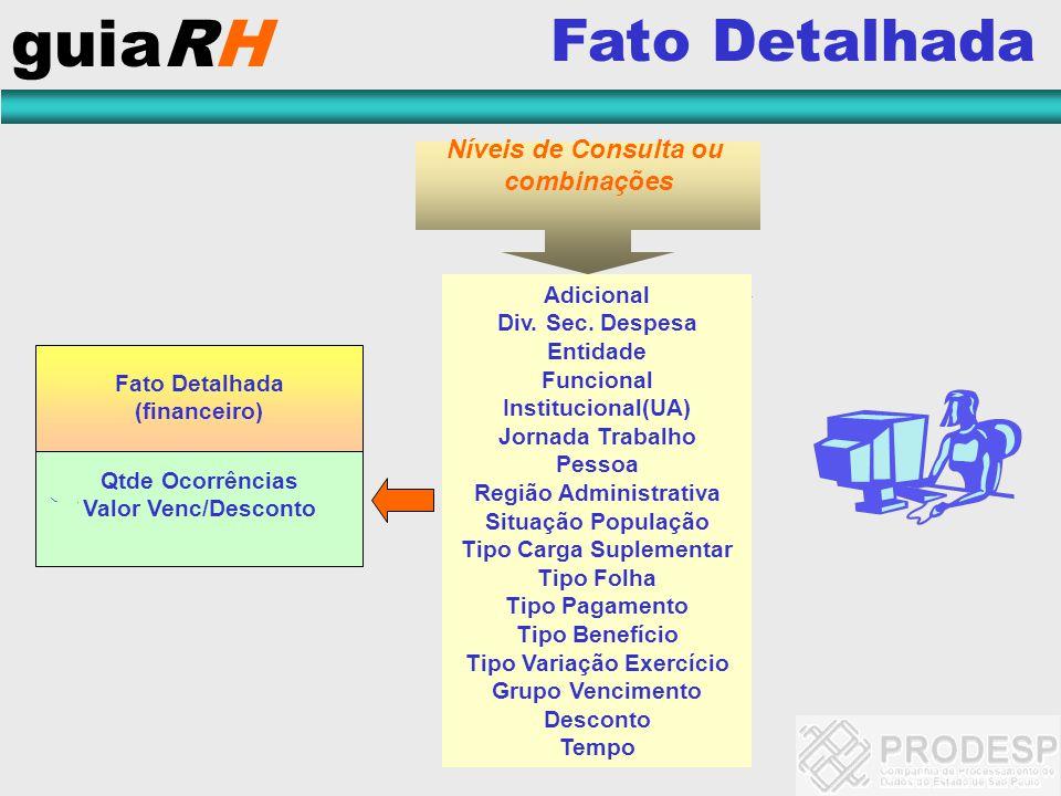 guiaRH Fato Detalhada Níveis de Consulta ou combinações Adicional