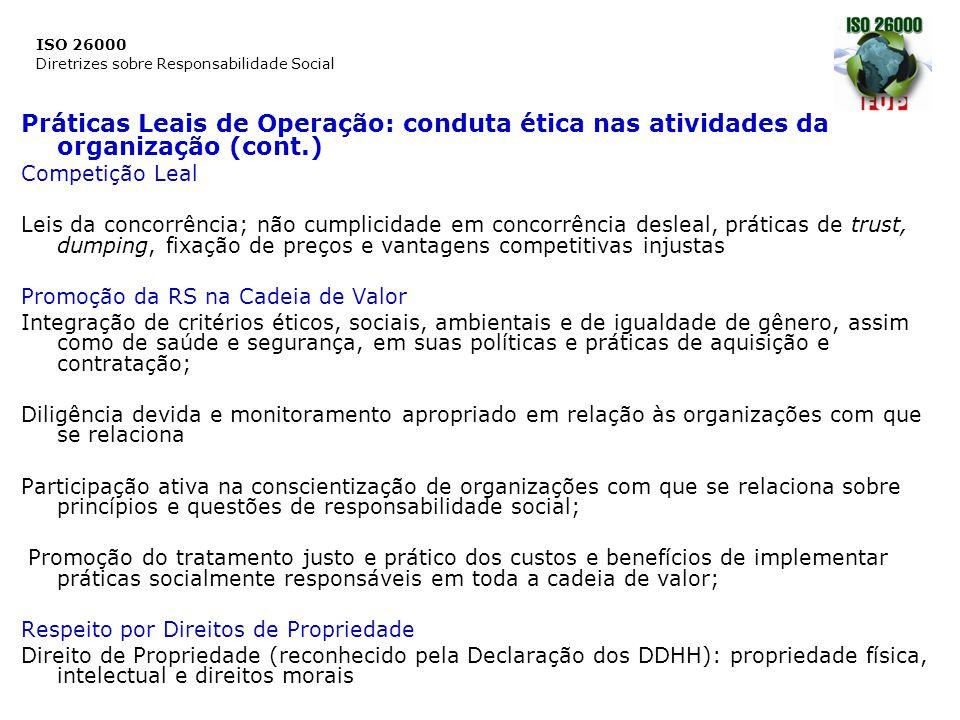 Práticas Leais de Operação: conduta ética nas atividades da organização (cont.)