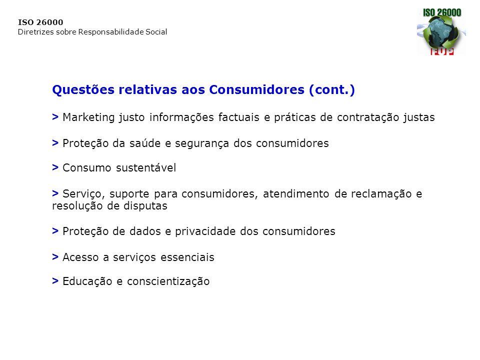 Questões relativas aos Consumidores (cont.)