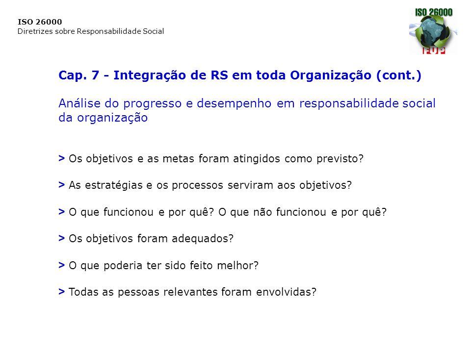 Cap. 7 - Integração de RS em toda Organização (cont.)