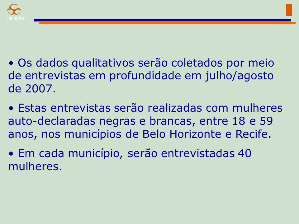 Os dados qualitativos serão coletados por meio de entrevistas em profundidade em julho/agosto de 2007.