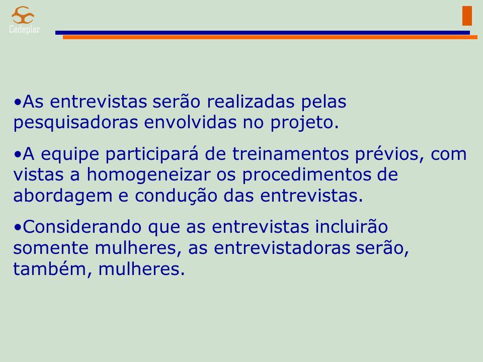 As entrevistas serão realizadas pelas pesquisadoras envolvidas no projeto.