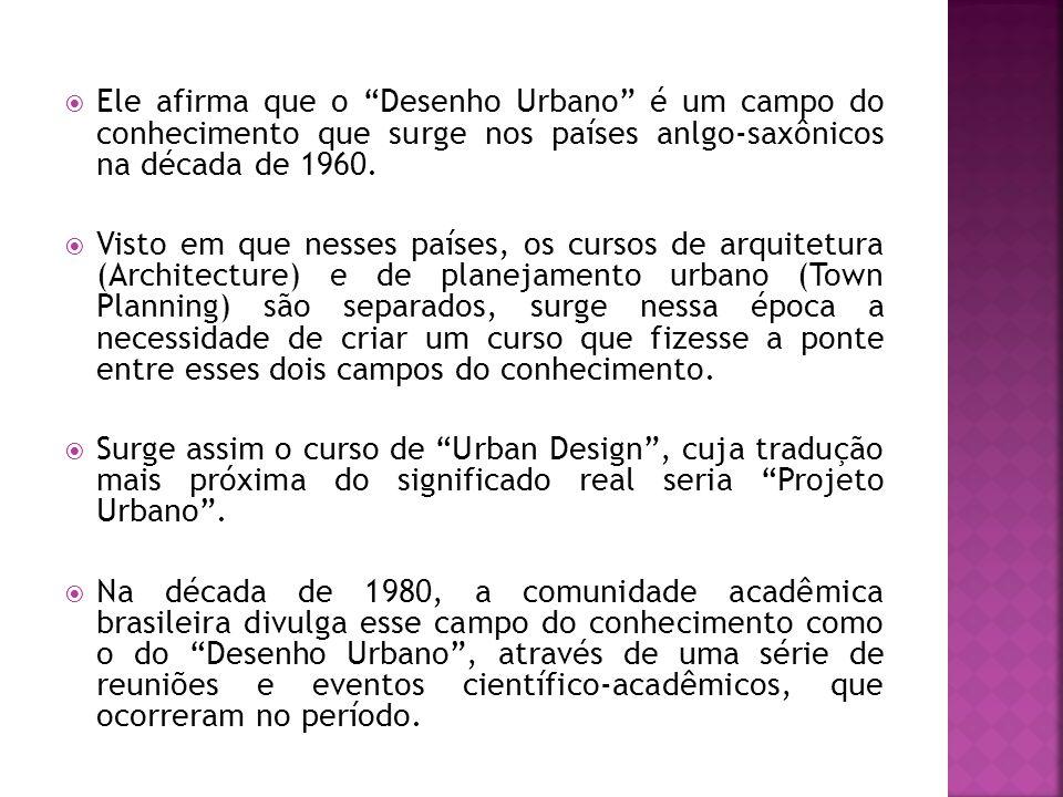 Ele afirma que o Desenho Urbano é um campo do conhecimento que surge nos países anlgo-saxônicos na década de 1960.