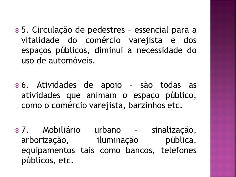 5. Circulação de pedestres – essencial para a vitalidade do comércio varejista e dos espaços públicos, diminui a necessidade do uso de automóveis.