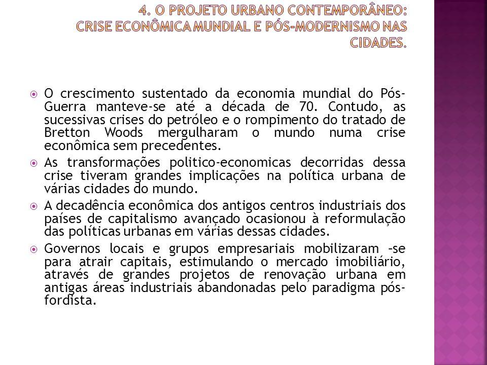 4. O Projeto Urbano Contemporâneo: crise econômica mundial e pós-modernismo nas cidades.