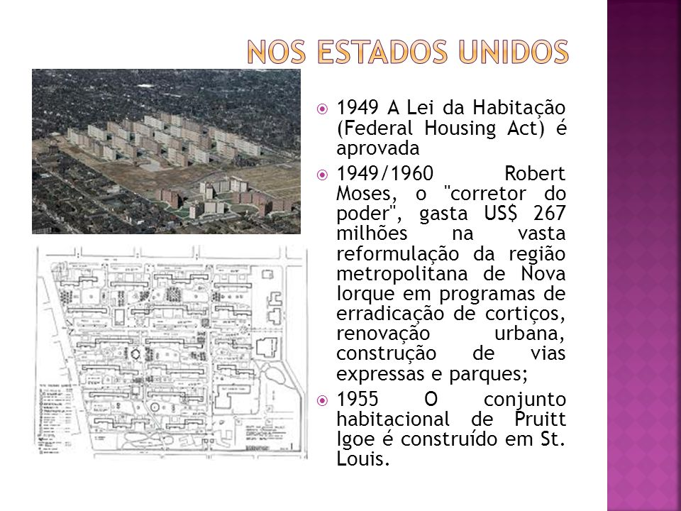 Nos Estados Unidos 1949 A Lei da Habitação (Federal Housing Act) é aprovada.