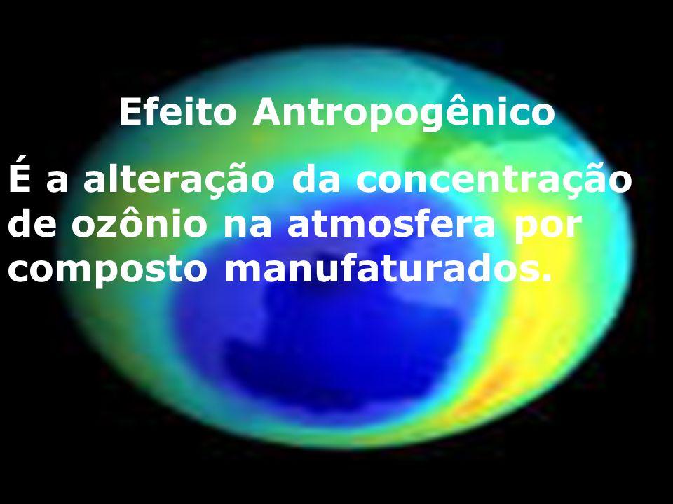 Efeito Antropogênico É a alteração da concentração de ozônio na atmosfera por composto manufaturados.