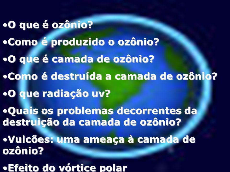 O que é ozônio Como é produzido o ozônio O que é camada de ozônio Como é destruída a camada de ozônio
