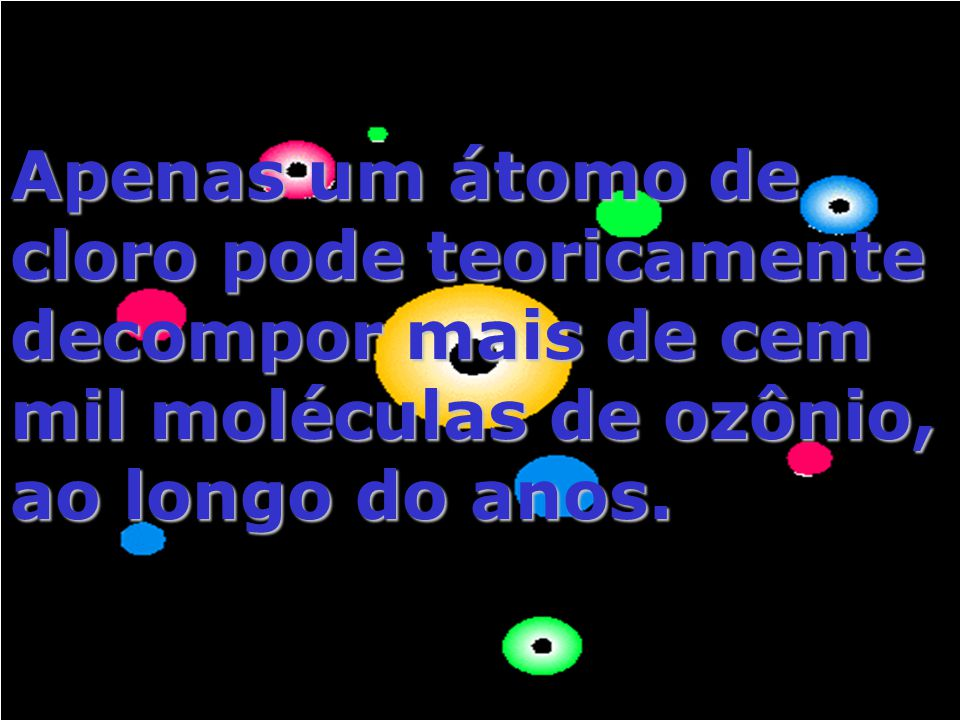 Apenas um átomo de cloro pode teoricamente decompor mais de cem mil moléculas de ozônio, ao longo do anos.