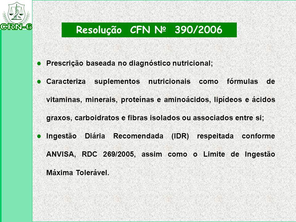 Resolução CFN No 390/2006 Prescrição baseada no diagnóstico nutricional;