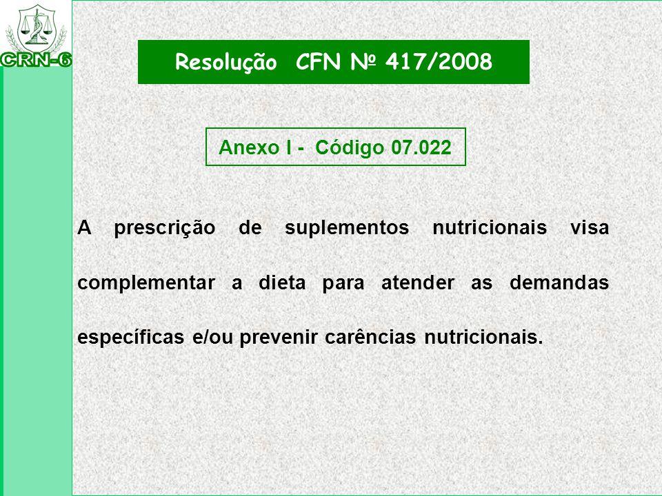 Resolução CFN No 417/2008 Anexo I - Código 07.022